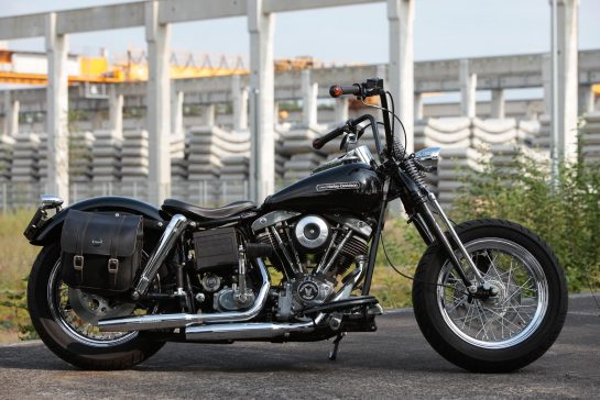Customized Harley-Davidson motorcycles with Shovelhead engine by