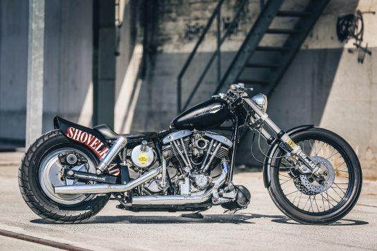 Customized Harley-Davidson motorcycles with Shovelhead engine by